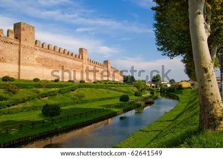 Cittadella city in north Italy. Medioeval walls. - stock photo