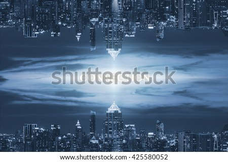 city and connection concept in blue tone - stock photo
