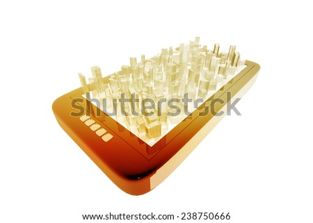 City and digital device - stock photo