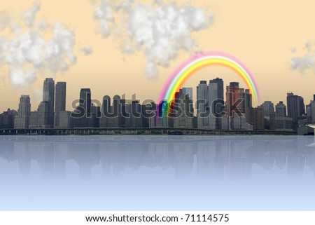 City and reflection with rainbow - stock photo