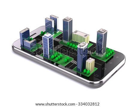 city application, navigation concept - stock photo