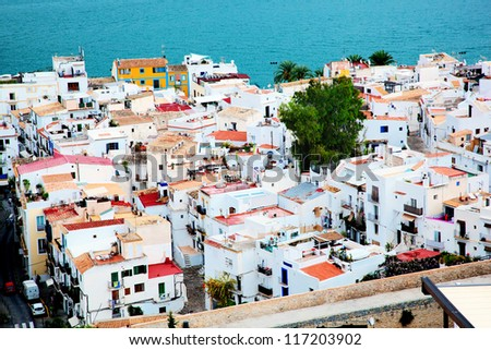 City architecture by the sea. Ibiza - Eivissa. Spain, Balearic islands