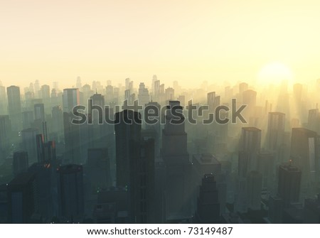 city at misty sunrise - stock photo