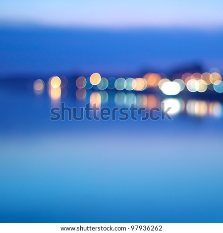 City at night - blurred photo - stock photo