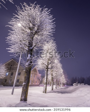 City at night. Cold winter. Frozen town. - stock photo