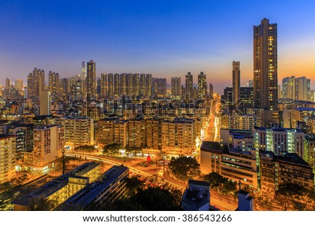 City at twilight - Shamshuipo, Hong Kong