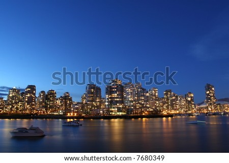 City Bathed In Twilight - stock photo