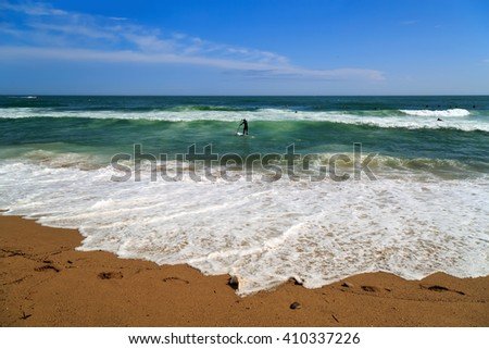 City beach Platja de Sant Sebastia. Barcelona, Spain. - stock photo