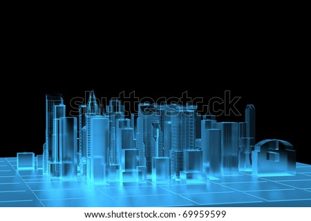 City Blue xray transparent rendered - stock photo