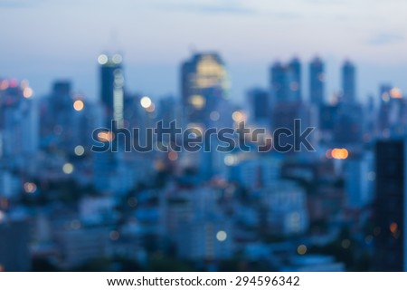 City blurred lights background after sunset - stock photo