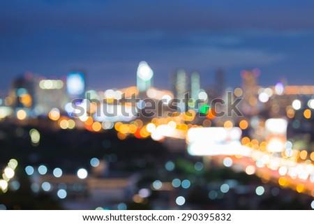City bokeh light during twilight - stock photo