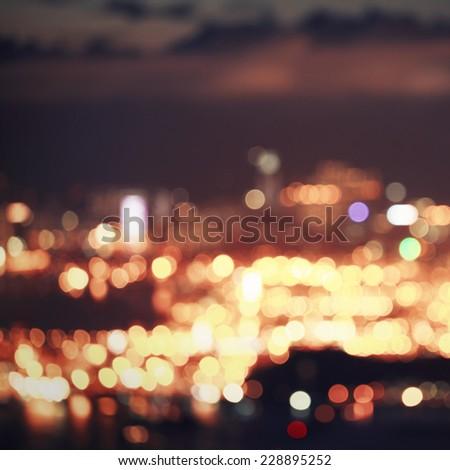 City bokeh lights - stock photo