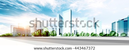 City building ecology. 3d rendering - stock photo