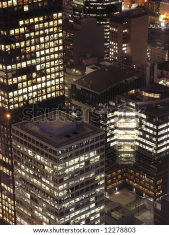 City buildings at night closeup - stock photo