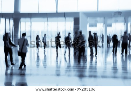 city business people abstract background blur motion - stock photo