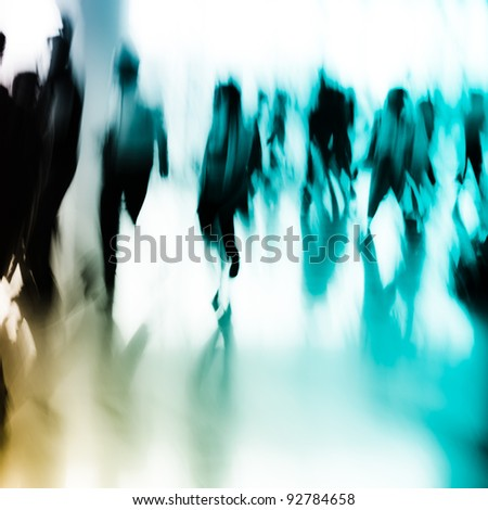 city business people crowd abstract background blur motion - stock photo