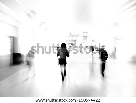 city business people walking on mall, urban scene blur abstract background, black and white - stock photo