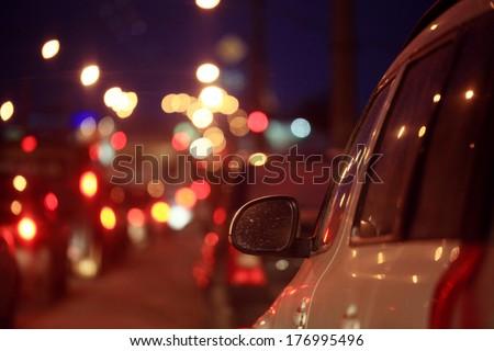 city ??car traffic jams night lights - stock photo