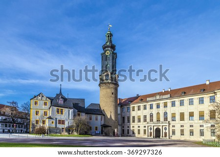 city castle Weimar under blue sky - stock photo