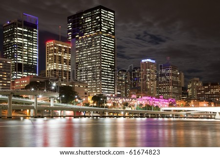 City center of Brisbane  Australia at night - stock photo