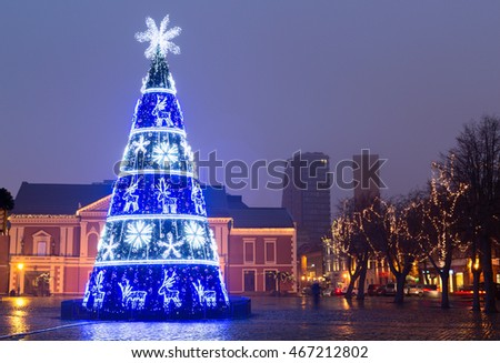City Christmas Tree (New Years tree) on the Theater Square, Klaipeda city, Lithuania