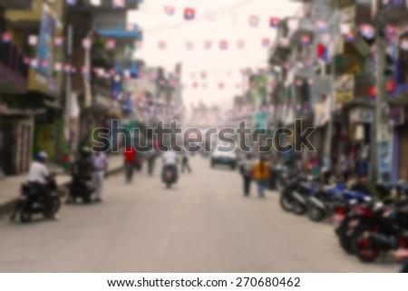 City commuters. Blurred image of crowdly street. Unrecognizable faces. - stock photo