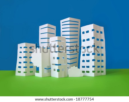 city concept made from paper - stock photo