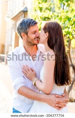 city couple love embracing couple - stock photo