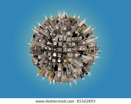 city downtown around the world - stock photo