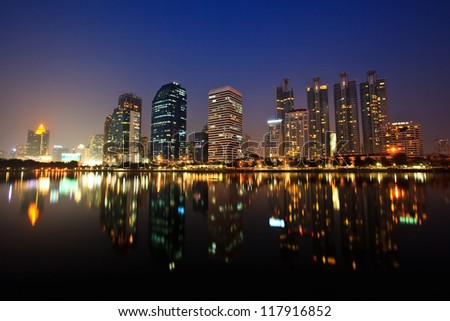 City downtown at night - stock photo