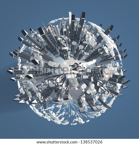 City Earth with Clouds - stock photo