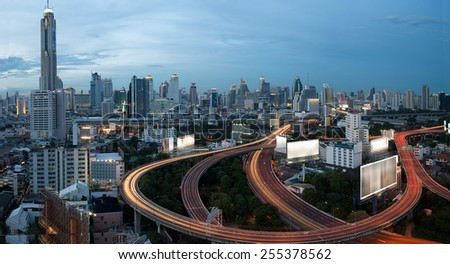 City elevated highway BKK  in thailand - stock photo