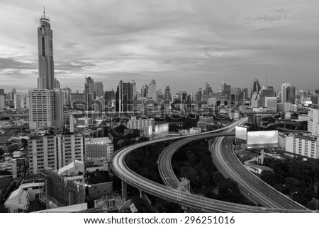 City elevated highway in thailand. - stock photo