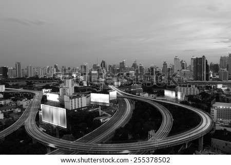 City elevated highway in thailand black and white tone. - stock photo