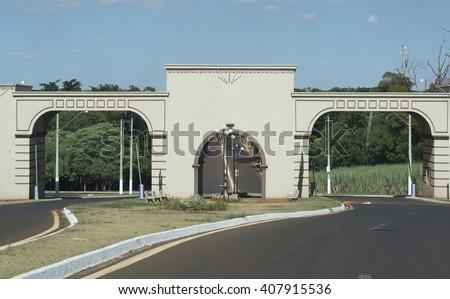 city entrance arch (CRUZ DAS POSSES - SAO PAULO - BRAZIL) - stock photo