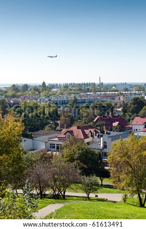 City estate panorama with air craft, Warsaw, Poland - stock photo