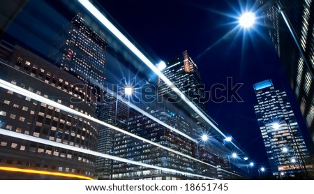 city finance district nightlife - stock photo