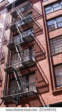 City Fire Escapes and Shadow  Reflection