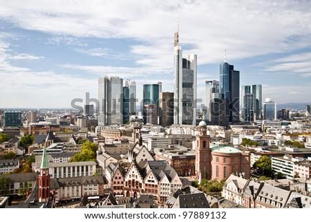 City Frankfurt skyline - stock photo