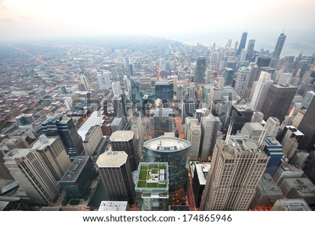 City from high tower - stock photo