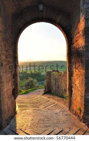 City gate of Monteriggioni - stock photo