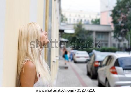 City girl walking outdoor - stock photo