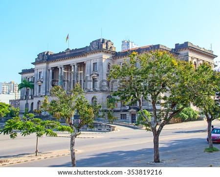 City hall and statue of Michel Samora in Maputo, Mozambique - stock photo