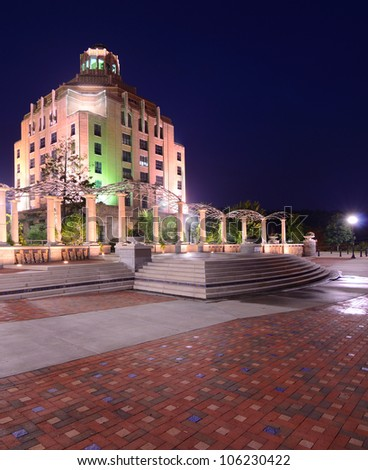 City Hall at Pack Square Park, Asheville, North Carolina, USA - stock photo