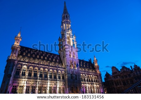 City hall in Brussels at twillight illuminated during light show