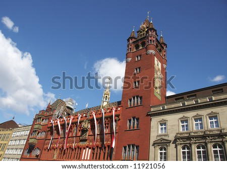 City Hall of Basel, Switzerland, host city of the Euro 2008 - stock photo