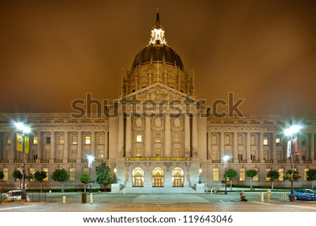 City Hall of San Francisco, Civic Center at night