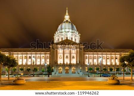 City hall of San Francisco, Civic Center at night - stock photo