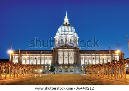 City hall of San Francisco Civic Center at night - stock photo