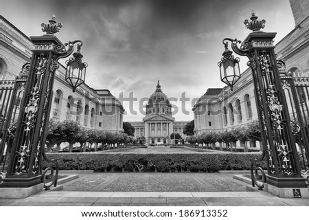 City hall of San Francisco Civic Center at sunset. - stock photo